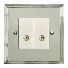 Edwardian TV Socket Outlet 2 Gang Polished Nickel