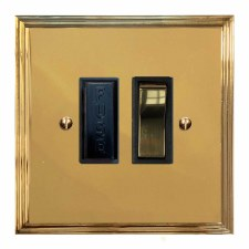 Edwardian Switched Fused Spur Polished Brass Lacquered & Black Trim