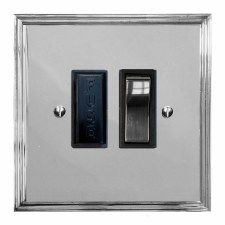 Edwardian Switched Fused Spur Polished Chrome & Black Trim