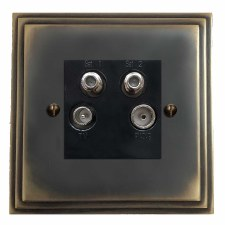 Edwardian Quadplex TV Socket Dark Antique Relief