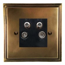 Edwardian Quadplex TV Socket Hand Aged Brass