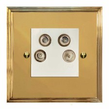 Edwardian Quadplex TV Socket Polished Brass Lacquered & White Trim