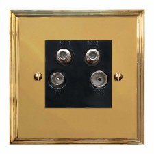 Edwardian Quadplex TV Socket Polished Brass Lacquered & Black Trim