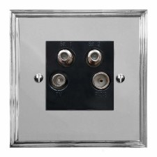 Edwardian Quadplex TV Socket Polished Chrome & Black Trim