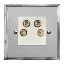 Edwardian Quadplex TV Socket Polished Chrome & White Trim