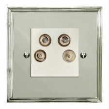 Edwardian Quadplex TV Socket Polished Nickel