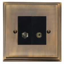 Edwardian Satellite & TV Socket Outlet Antique Brass Lacquered