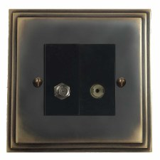 Edwardian Satellite & TV Socket Outlet Dark Antique Relief