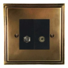 Edwardian Satellite & TV Socket Outlet Hand Aged Brass
