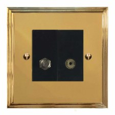 Edwardian Satellite & TV Socket Outlet Polished Brass Lacquered & Black Trim