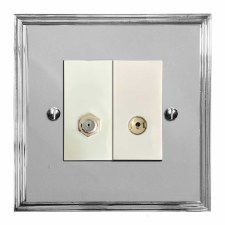 Edwardian Satellite & TV Socket Outlet Polished Chrome & White Trim