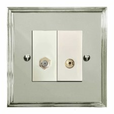 Edwardian Satellite & TV Socket Outlet Polished Nickel