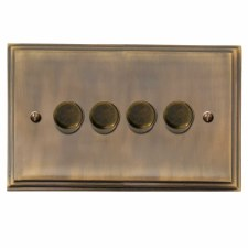 Edwardian Dimmer Switch 4 Gang Antique Brass Lacquered