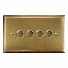 Edwardian Dimmer Switch 4 Gang Antique Satin Brass