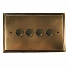 Edwardian Dimmer Switch 4 Gang Hand Aged Brass