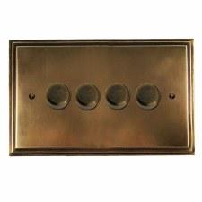 Edwardian Dimmer Switch 4 Gang Hand Aged Brass