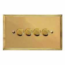 Edwardian Dimmer Switch 4 Gang Polished Brass Unlacquered