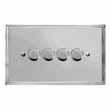 Edwardian Dimmer Switch 4 Gang Polished Chrome