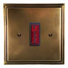 Edwardian Fused Spur Connection Unit Illuminated Indicator Hand Aged Brass