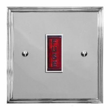 Edwardian Fused Spur Connection Unit Illuminated Indicator Polished Chrome & White Trim