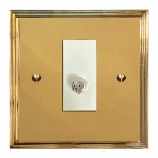 Edwardian Satellite Socket Polished Brass Lacquered & White Trim