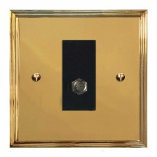 Edwardian Satellite Socket Polished Brass Lacquered & Black Trim