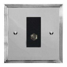 Edwardian Satellite Socket Polished Chrome & Black Trim
