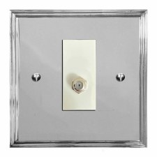 Edwardian Satellite Socket Polished Chrome & White Trim