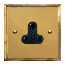 Edwardian Lighting Socket Round Pin 5A Polished Brass Lacquered & Black Trim