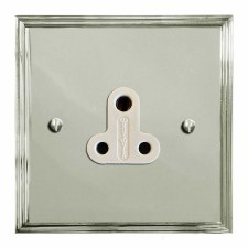 Edwardian Lighting Socket Round Pin 5A Polished Nickel