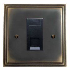 Edwardian RJ45 Socket CAT 5 Dark Antique Relief