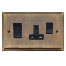 Edwardian Socket & Cooker Switch Antique Brass Lacquered