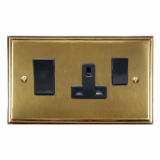 Edwardian Socket & Cooker Switch Antique Satin Brass