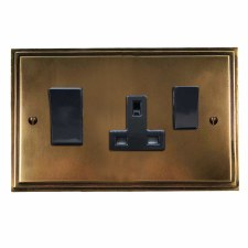 Edwardian Socket & Cooker Switch Hand Aged Brass