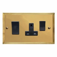 Edwardian Socket & Cooker Switch Polished Brass Lacquered & Black Trim