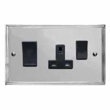 Edwardian Socket & Cooker Switch Polished Chrome & Black Trim