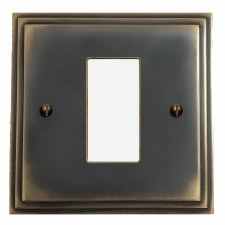 Edwardian Plate for Modular Electrical Components 50x25mm Dark Antique Relief