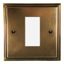 Edwardian Plate for Modular Electrical Components 50x25mm Hand Aged Brass