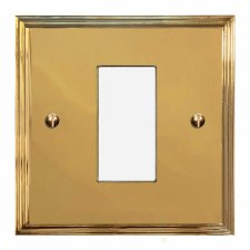 Edwardian Plate for Modular Electrical Components 50x25mm Polished Brass Unlacquered