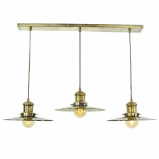 Edison Large 3 Light Bar Pendant Antique Brass