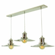 Edison Large 3 Light Bar Pendant Polished Nickel