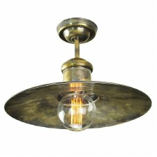 Edison Large Semi Flush Ceiling Light Antique Brass