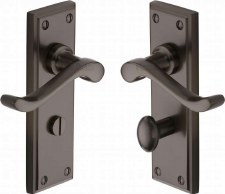 Heritage Edwardian Bathroom Door Handles W3220 Matt Bronze