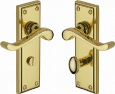 Heritage Edwardian Bathroom Door Handles W3220 Polished Brass Lacq