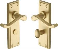 Heritage Edwardian Bathroom Door Handles W3220 Satin Brass Lacquered
