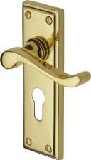 Heritage Edwardian Euro Lock Door Handles W3227 Polished Brass Lacq