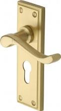 Heritage Edwardian Euro Lock Door Handles W3227 Satin Brass Lacquered