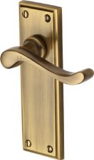 Heritage Edwardian Door Handles W3213 Antique Brass Lacquered