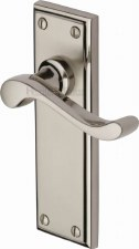 Heritage Edwardian Door Handles W3213 Satin & Pol Nickel