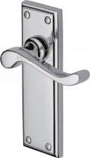 Heritage Edwardian Door Handles W3213 Polished Chrome